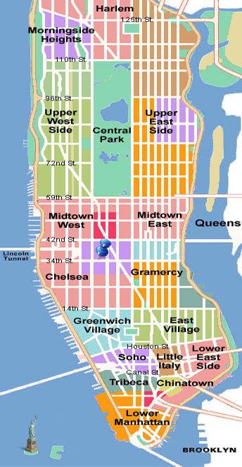 青いピンがホテルのある場所。歩いて10分くらいでブロードウェイ、タイムズスクエア(中央の濃いピンク)へ行ける好立地。