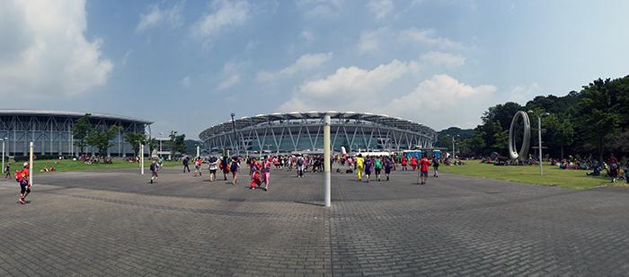 7月31日13時台のエコパスタジアム。最高気温は34℃。